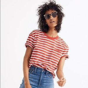 Madewell Easy Crop Tee in Judd Stripe Size M